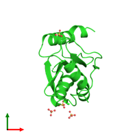 PDB 2xf1 coloured by chain and viewed from the top.