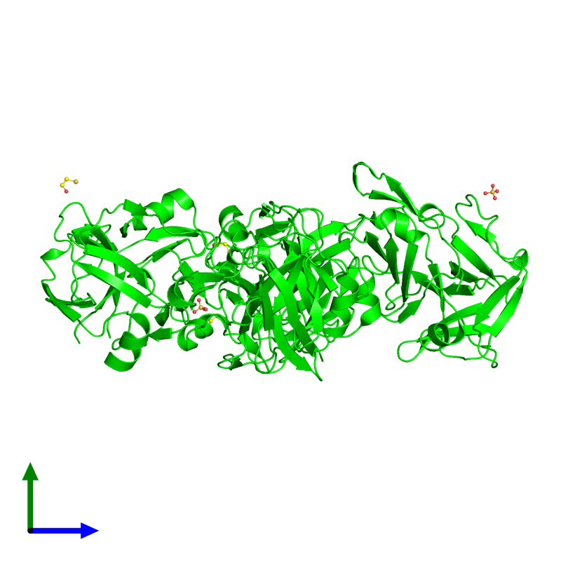 <div class='caption-body'><ul class ='image_legend_ul'>The deposited structure of PDB entry 2xvo coloured by chemically distinct molecules and viewed from the side. The entry contains: <li class ='image_legend_li'>4 copies of Putative CRISPR system CMR subunit Cmr7 2</li><li class ='image_legend_li'>2 non-polymeric entities<ul class ='image_legend_ul'><li class ='image_legend_li'>2 copies of SULFATE ION</li><li class ='image_legend_li'>3 copies of BETA-MERCAPTOETHANOL</li></ul></li></div>