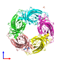 PDB 2y54 coloured by chain and viewed from the front.