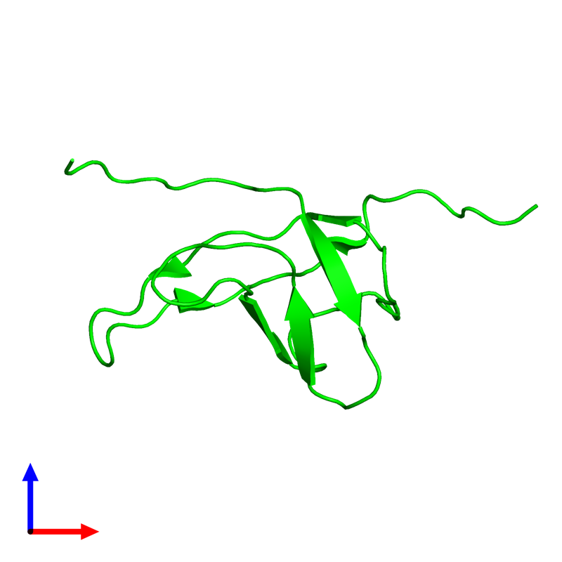<div class='caption-body'><ul class ='image_legend_ul'> Monomeric assembly 1 of PDB entry 2ytv coloured by chemically distinct molecules and viewed from the front. This assembly contains:<li class ='image_legend_li'>One copy of Cold shock domain-containing protein E1</li></ul></div>