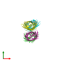 PDB 2zmw coloured by chain and viewed from the top.
