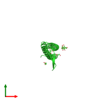 PDB 2zqm coloured by chain and viewed from the top.