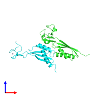 PDB 3a43 coloured by chain and viewed from the front.