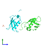 PDB 3a4r coloured by chain and viewed from the front.