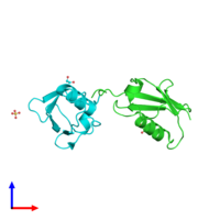 PDB 3a4r coloured by chain and viewed from the side.