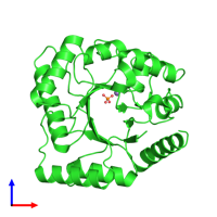 PDB 3aam coloured by chain and viewed from the front.