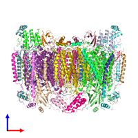 PDB 3ag2 coloured by chain and viewed from the front.