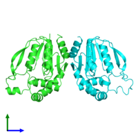 PDB 3asy coloured by chain and viewed from the front.
