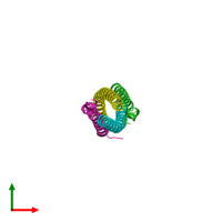 PDB 3brv coloured by chain and viewed from the top.