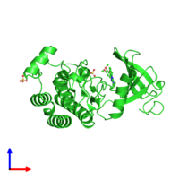 PDB 3bym coloured by chain and viewed from the side.