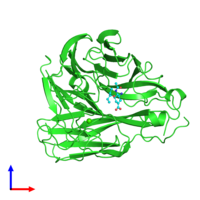 PDB 3cl0 coloured by chain and viewed from the front.