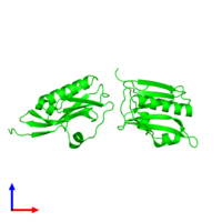 Dimeric assembly 3 of PDB entry 3d6r coloured by chemically distinct molecules and viewed from the front.