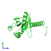 PDB 3dnx coloured by chain and viewed from the side.
