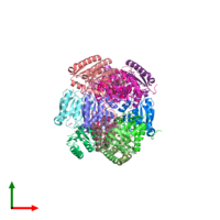 PDB 3e7n coloured by chain and viewed from the top.