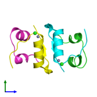 PDB 3e7y coloured by chain and viewed from the front.