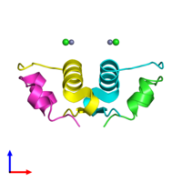 PDB 3e7y coloured by chain and viewed from the side.