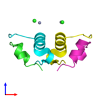 PDB 3e7z coloured by chain and viewed from the side.