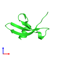 PDB 3f2u coloured by chain and viewed from the side.