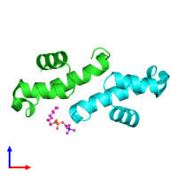 PDB 3ff5 coloured by chain and viewed from the front.