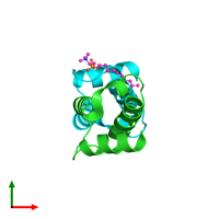 PDB 3ff5 coloured by chain and viewed from the top.