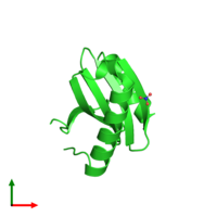 PDB 3fov coloured by chain and viewed from the top.
