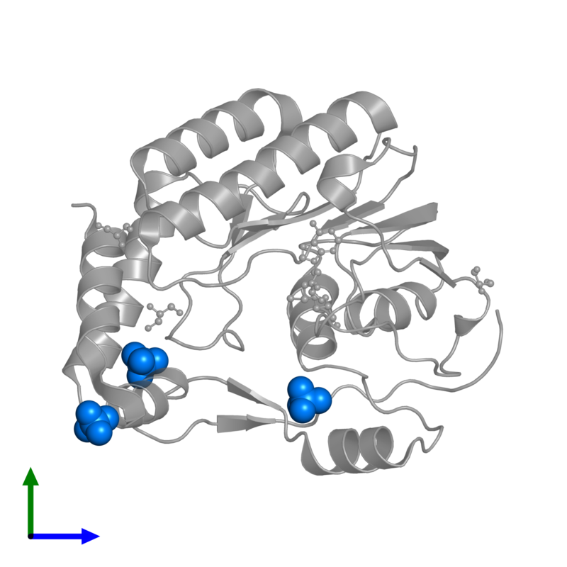 <div class='caption-body'>PDB entry 3gcz contains 3 copies of SULFATE ION in assembly 1. This small molecule is highlighted and viewed from the front.</div>