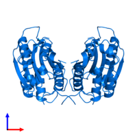PDB 3h13 contains 2 copies of CASP8 and FADD-like apoptosis regulator subunit p43 in assembly 1. This protein is highlighted and viewed from the side.