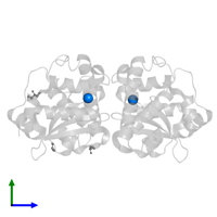 PDB 3h1s contains 2 copies of FE (III) ION in assembly 1. This small molecule is highlighted and viewed from the side.