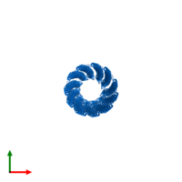 PDB 3ifm contains 35 copies of Capsid protein G8P in assembly 1. This protein is highlighted and viewed from the top.