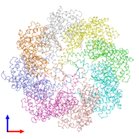 PDB 3iyg coloured by chain and viewed from the front.