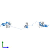 PDB 3j4r contains 2 copies of cAMP-dependent protein kinase type II-alpha regulatory subunit in assembly 1. This protein is highlighted and viewed from the side.