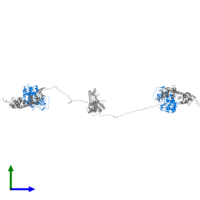 PDB 3j4r contains 2 copies of cAMP-dependent protein kinase catalytic subunit alpha in assembly 1. This protein is highlighted and viewed from the side.