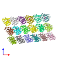 PDB 3j6g coloured by chain and viewed from the front.
