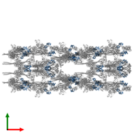 PDB 3jax contains 40 copies of Smooth muscle myosin essential light chain in assembly 1. This protein is highlighted and viewed from the top.
