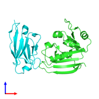 PDB 3k74 coloured by chain and viewed from the front.