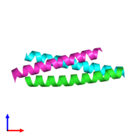 PDB 3k7z coloured by chain and viewed from the side.