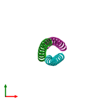 PDB 3k7z coloured by chain and viewed from the top.