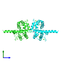 PDB 3l19 coloured by chain and viewed from the side.
