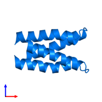 PDB 3l32 contains 2 copies of Phosphoprotein in assembly 1. This protein is highlighted and viewed from the side.