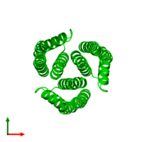 Trimeric assembly 3 of PDB entry 3l8r coloured by chemically distinct molecules and viewed from the top.