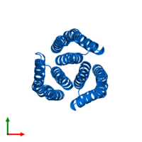 PDB 3l8r contains 3 copies of Putative PTS system, cellobiose-specific IIA component in assembly 1. This protein is highlighted and viewed from the top.