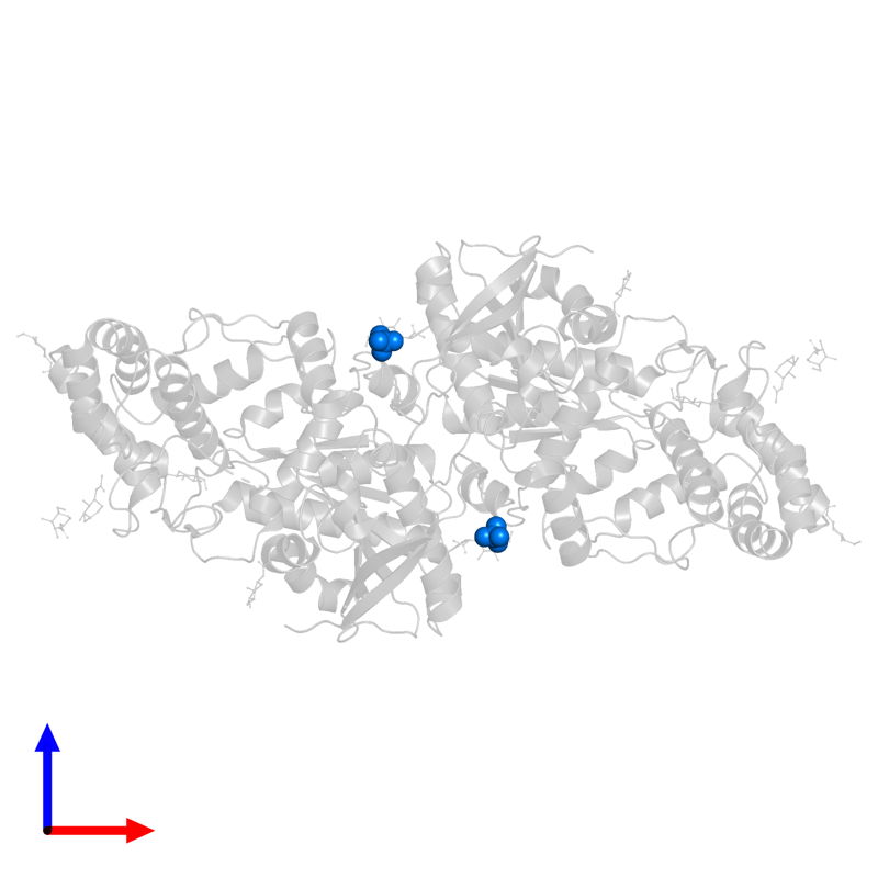 <div class='caption-body'>PDB entry 3n2z contains 2 copies of SULFATE ION in assembly 1. This small molecule is highlighted and viewed from the front.</div>