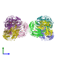 PDB 3n83 coloured by chain and viewed from the side.