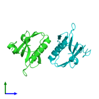 PDB 3oa9 coloured by chain and viewed from the side.