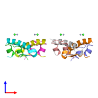 PDB 3p33 coloured by chain and viewed from the side.