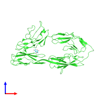 PDB 3p40 coloured by chain and viewed from the front.