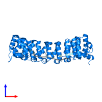 PDB 3q0q contains 1 copy of Pumilio homolog 2 in assembly 1. This protein is highlighted and viewed from the side.