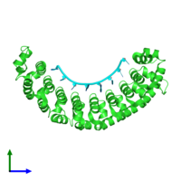 PDB 3q0r coloured by chain and viewed from the front.