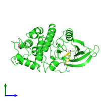 PDB 3qtz coloured by chain and viewed from the side.