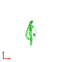 PDB 3r2p coloured by chain and viewed from the top.